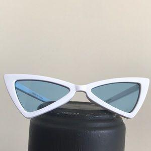 Accessories - Retro White Slender Clear Cat Eye Frame Sunglasses